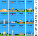 Travel landmarks icons set 45403984