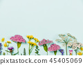 Flower composition on blue background with copyspace 45405069