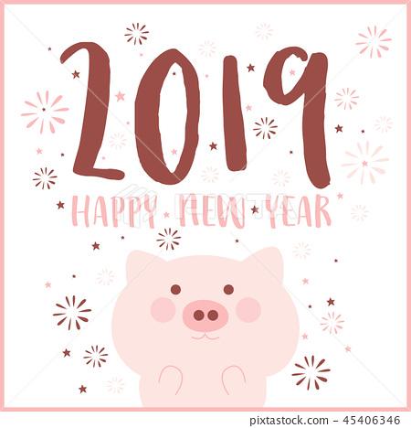 Happy new year 2019, Cute style, chinese zodiac 45406346