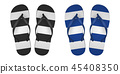 Vector Realistic 3d striped Flip Flop Set Closeup Isolated on White Background. Design Template of 45408350