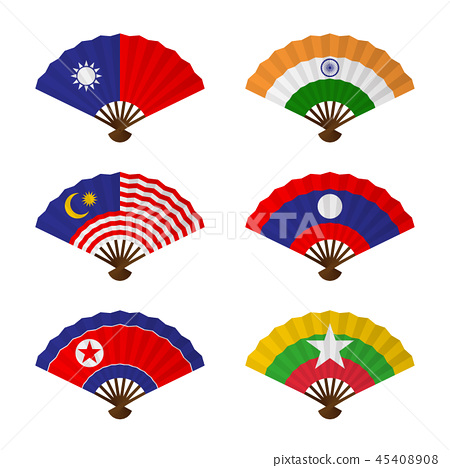 Folding fan or hand fan National flag concept 45408908