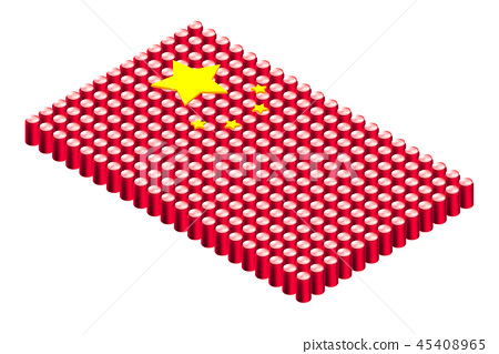 3D Isometric beverage can in row, China national 45408965