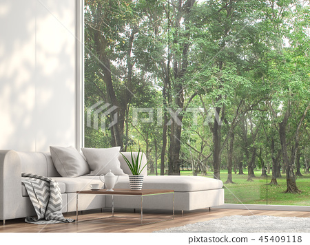 Minimal sofa located at the window 3d render 45409118