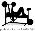 Gym Woman Silhouette Weights Bench Barbell 45409243