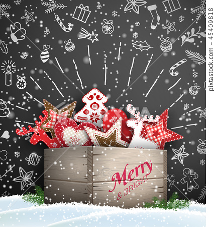 Group of Christmas ornaments in old wooden box 45409818