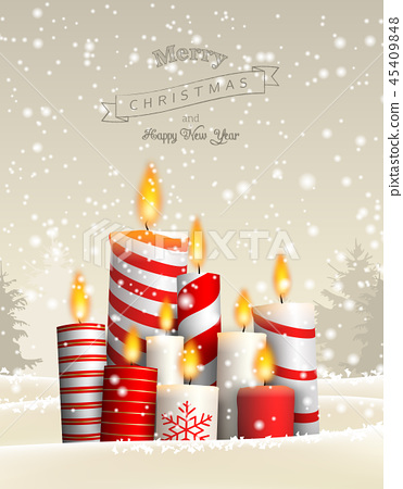 Group of Christmas candles in snowy landscape 45409848