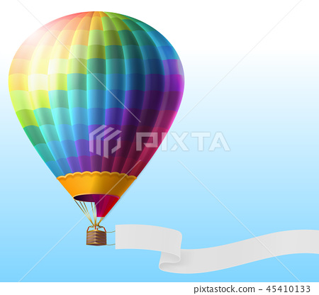 realistic hot air balloon with blank ribbon 45410133