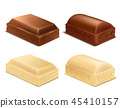 chocolate pieces, brown and white milk bars 45410157