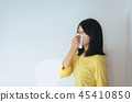 Asian woman with allergy symptoms problem 45410850