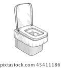 Sketch of toilet bowl 45411186