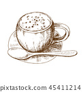 coffee, sketch, vector 45411214