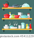 Three shelves with dishes. 45411229