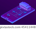 3d isometric smartphone - booking of tickets 45411448