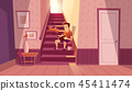 interior with man, cat on stairs 45411474