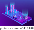 isometric smart taxi app for smartphone 45411488