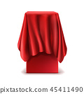 realistic stand covered with red silk cloth 45411490