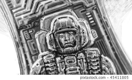 Astronaut in black and white Colors. 45411805