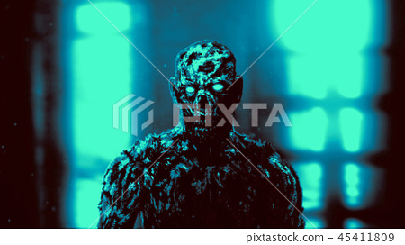 Grim demon apocalyptic face. Blue background 45411809