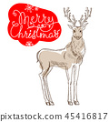 Christmas reindeer isolated on white background card 45416817