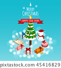merry christmas and happy new year,isometric snow  45416829