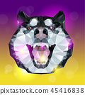 Geometric head of husky dog with bright background 45416838
