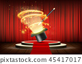 Magic wand and hat on stage with curtain. 45417017