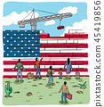 people refugees in front of a Usa wall flag 45419856