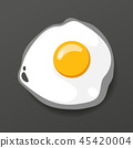 Fried egg. Cooking lunch, dinner, breakfast. Natural product. Fast food egg omelette. Cooking food 45420004