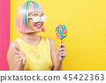 woman, wig, lollipop 45422363