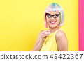 woman, glasses, wig 45422367