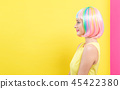 Woman in a colorful wig 45422380