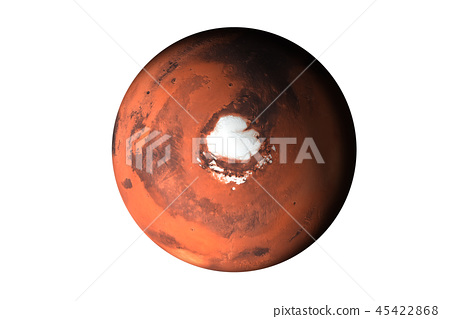 Planet Mars top side Isolated 45422868