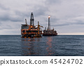 FPSO tanker vessel near Oil Rig platform. Offshore oil and gas industry 45424702
