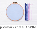 Tools for cross stitch. Threads, a hoop for embroidery, canvas and needle 45424961
