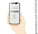 拿著智能手機的右手的例證|電子付款的圖像,白色背景|有智能手機的手 45425613
