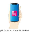 左手的例證有智能手機的|購物車,白色背景|有智能手機的手 45425616