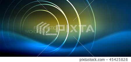 Neon glowing circles background 45425828