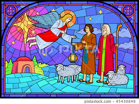 Stained glass in a Catholic Church. Religious meanings and scenes of the Christians traditions vector illustration 001 45430849