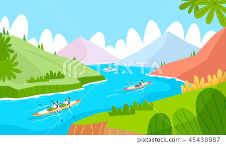 illustration of seasonal activities during summer and autumn time, camping, surfing, cycling, tracking and so on. 004 45430987
