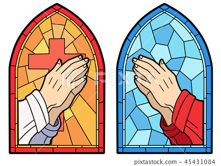 Stained glass in a Catholic Church. Religious meanings and scenes of the Christians traditions vector illustration 014 45431084