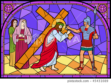 Stained glass in a Catholic Church. Religious meanings and scenes of the Christians traditions vector illustration 006 45431089