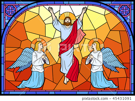 Stained glass in a Catholic Church. Religious meanings and scenes of the Christians traditions vector illustration 009 45431091