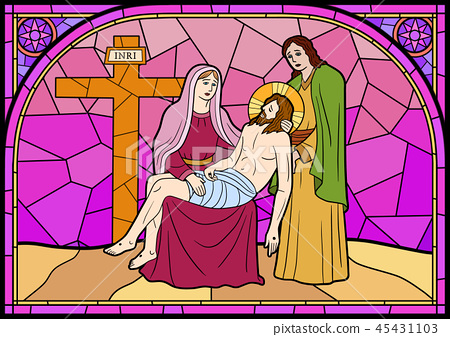 Stained glass in a Catholic Church. Religious meanings and scenes of the Christians traditions vector illustration 008 45431103