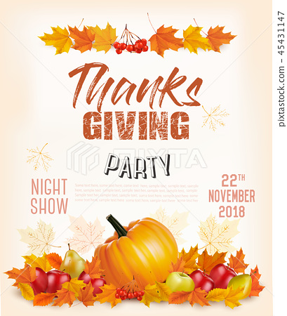 Happy Thanksgiving Flyer with colorful leaves  45431147
