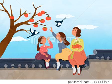 Happy family having a Korean Thanks Giving Day, Chuseok vector illustration 011 45431197