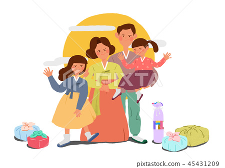 Happy family having a Korean Thanks Giving Day, Chuseok vector illustration 004 45431209