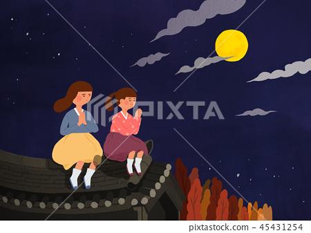 Happy family having a Korean Thanks Giving Day, Chuseok vector illustration 012 45431254