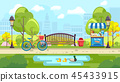 Bench park with pond in colorful vector 45433915
