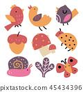 mushroom, bird, vector 45434396