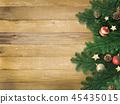 พื้นหลัง - ลายไม้ - เครื่องประดับคริสต์มาส 45435015